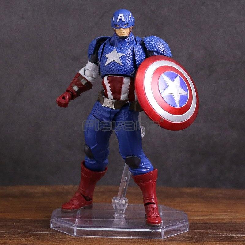 Revoltech Series NO.007 Capitán América PVC figura de acción juguete de modelos coleccionables
