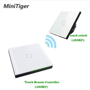 Minitiger EU Standard 1/2 Gang 2 Way Wireless Remote Wall Light Touch Switch Wireless Stick Remote Touch Switch