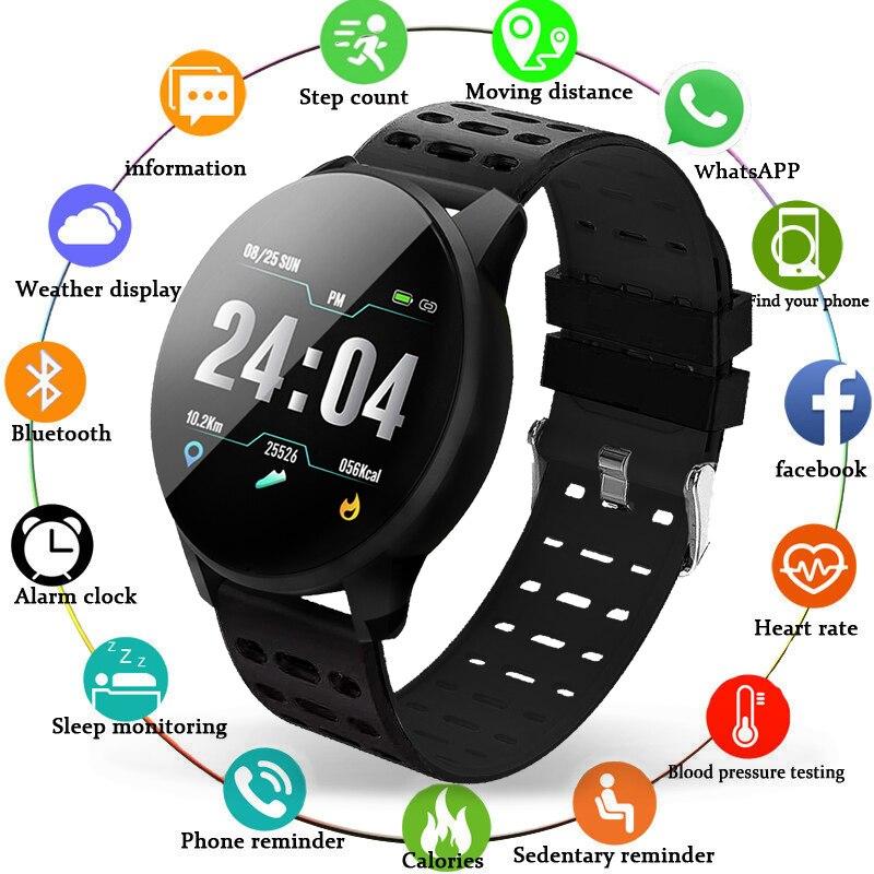 Pulsera inteligente para hombres y mujeres, monitor de ritmo cardíaco y presión arterial, reloj inteligente deportivo, pulsera digital de Color resistente al agua para IOS y Android