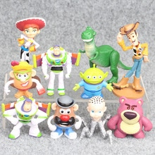 10 pcs/lot 4-11 cm jouet histoire 4 Buzz Lightyear Woody Jessie Lotso Bullseye cheval Figure jouets