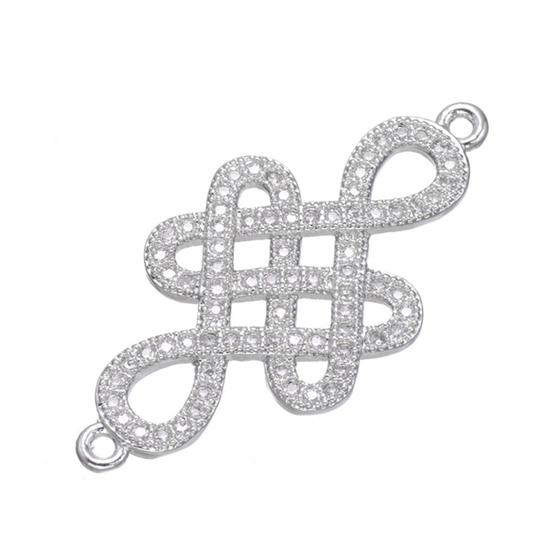Luxe CZ strass connecteurs nudo chino boucles doreilles accessoires noeud chinois pendentif breloques pour bricolage femmes Fine fabrication de bijoux