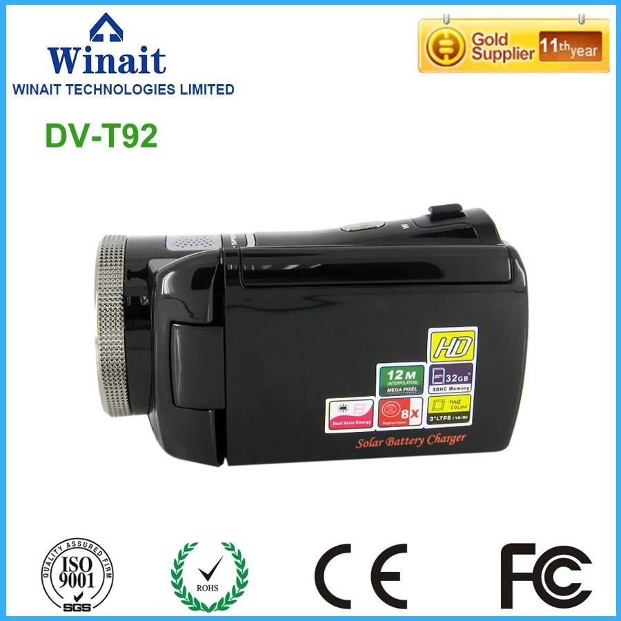 720P hd 30fps digital video camera HDV-T92 dual solar charging 8x digital zoom digital video camcorder