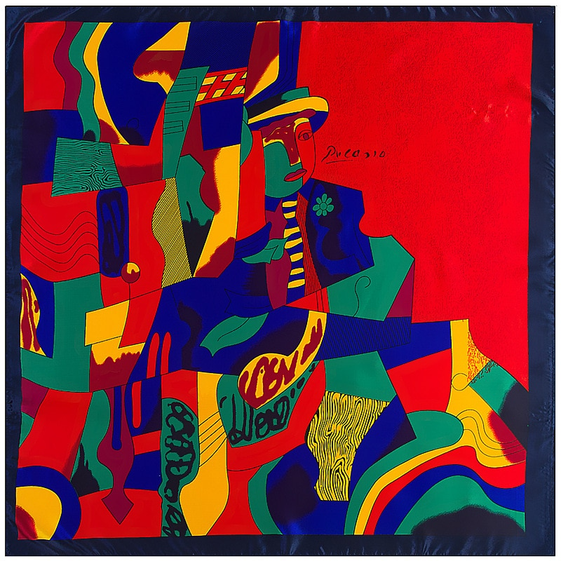 Fashion Designer oil painting scarf  90x90cm  silk satin women square scarf kerchief border headscarf neckwear LL180498
