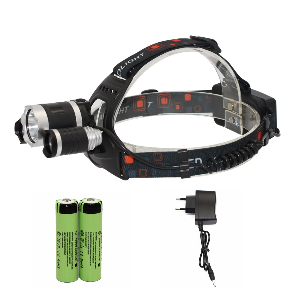 LED Headlamp Rechargeable Headlight T6 XPE LED Head Lamp Lighting Flashlight Lantern Fishing Light + 18650 Battery+ Charger
