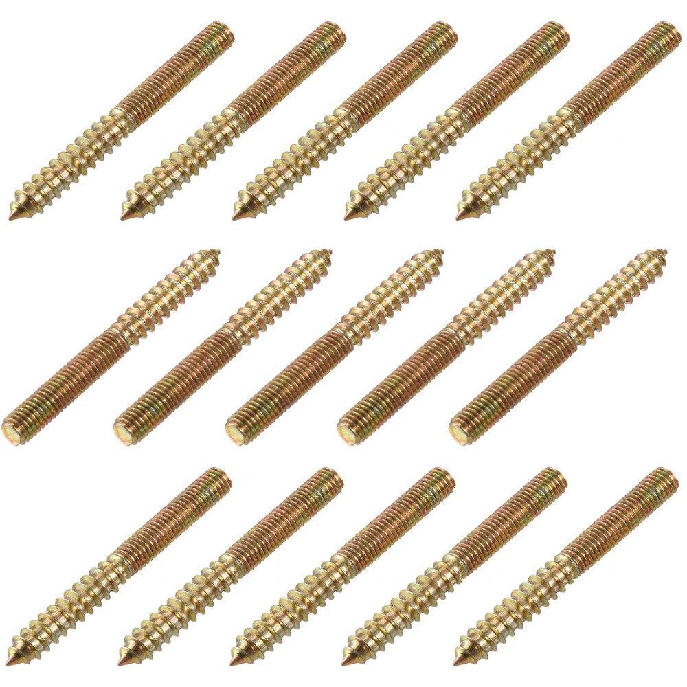 Uxcell 15 Uds M8x50mm M8x75mm tornillo de suspensión de acero al carbono tornillo de doble cabeza para muebles y juegos de surtido de tornillos