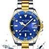 WLISTH – montre à Quartz de luxe à cadran rotatif GMT saphir Date or acier inoxydable Sport cadran bleu pour hommes
