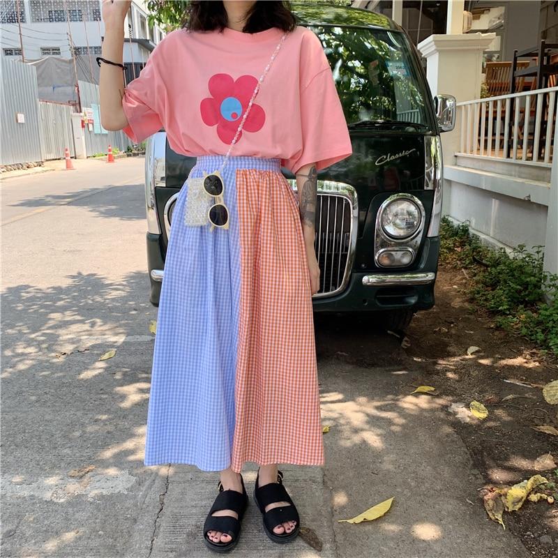 De cintura alta Patchwork bloque de contraste de Color caramelo rayas Boho Kawaii Cute Lolita Mori chica coreana Midi Falda larga Daisy/Top/camiseta