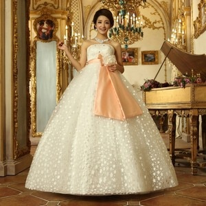 2017 New Ball Gown Wedding Dresses with Sashes White/Ivory Sweet Bridal Gown Floor Length Strapless Elegant Vestidos De Novia