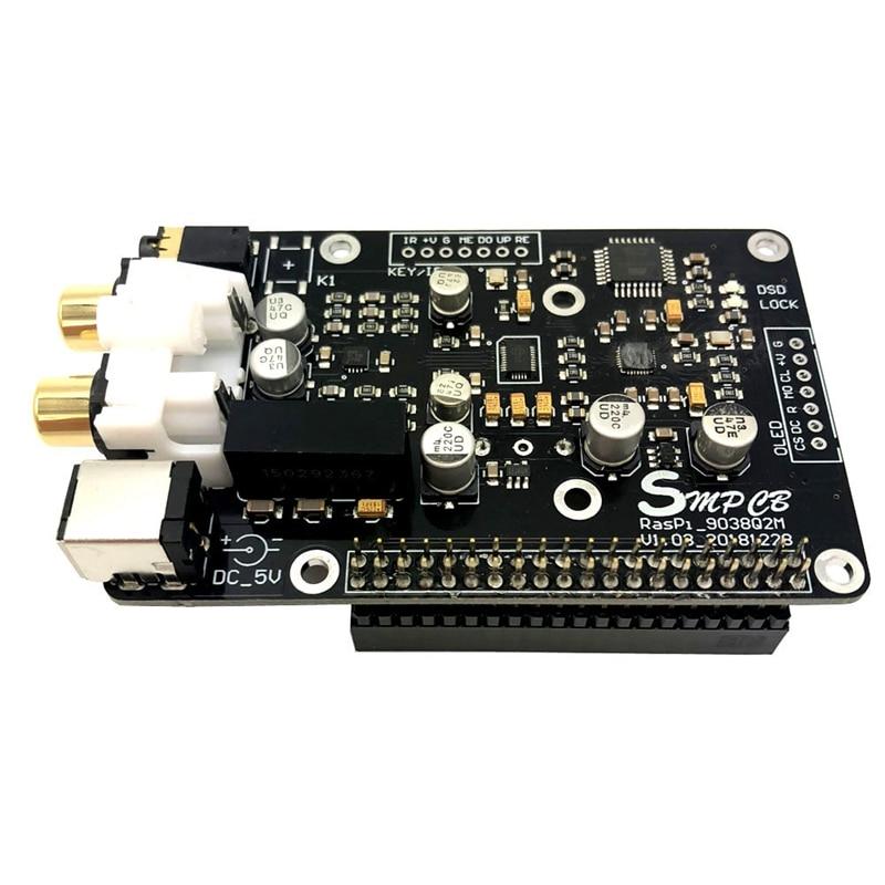 Es9038q2m opa1612 op decodificador placa de transmissão digital i2s 32bit/384 k dsd128 para raspberry pi 2b 3b + dac