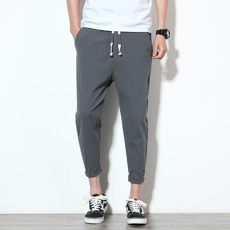 Cotton Joggers Men Summer Casual Slim Ankle-length Trousers Men Lightweight Solid Breathable Streetwear Sweatpants Men