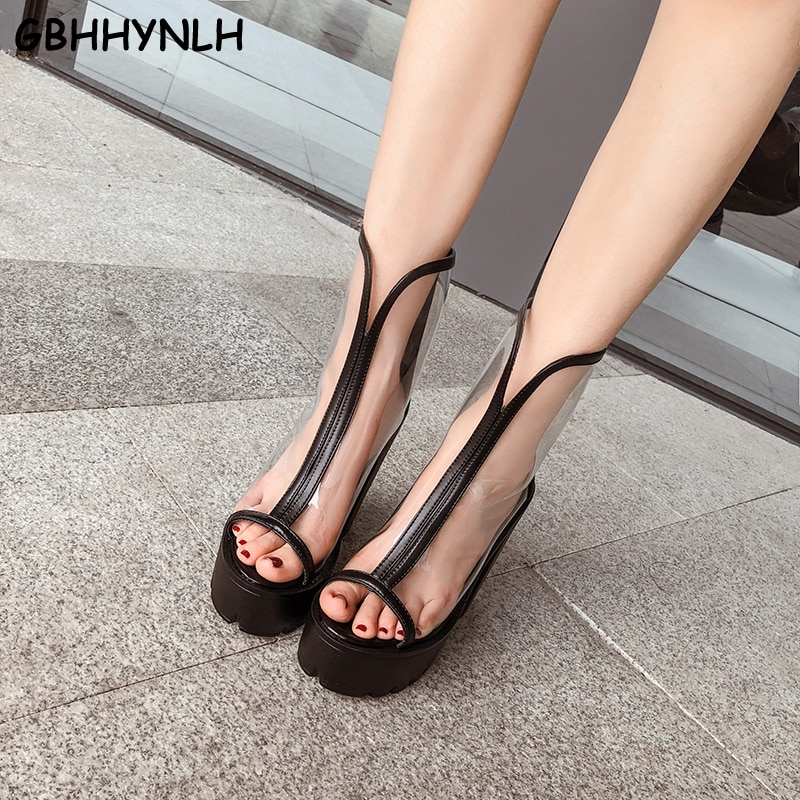 GBHHYNLH gladiador sandalias de Mujer Sandalias de verano zapatos de mujer Zapatos de tacón alto Mujer transparente blanco zapatos botas LJA731