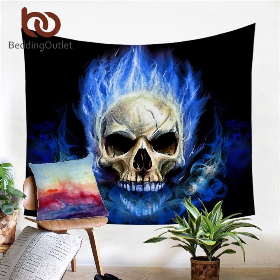 Beddingoutlet chama crânio tapeçaria 3d impressão tapeçarias de suspensão da parede azul vermelho fogo gótico decoração do tapete parede para colchas casa