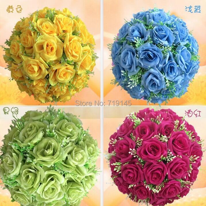 30 cm/12 pulgadas 13 colores boda beso bola Rosa flor bola artificial flor boda Navidad supermercado Decoración
