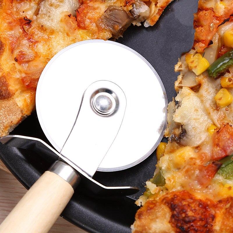 Prático pizza placa de aço inoxidável cortador de pizza massa massa massa massa placa redonda com alça madeira cozinha cozimento acessório