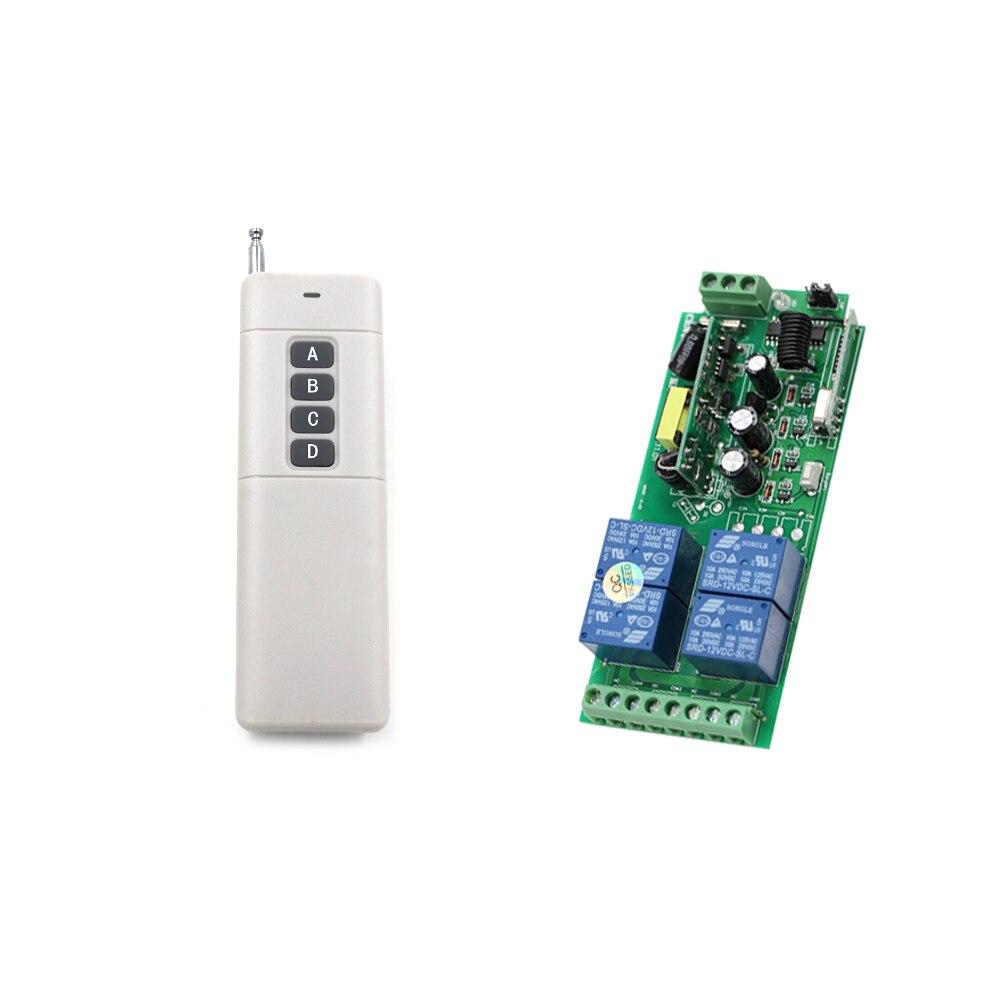 Tiempo transmisor AC85V ~ 250 V 4CH interruptor de Control remoto inalámbrico de 220 V de salida de relé Radio RF 1 piezas transmisor + 1 piezas receptor