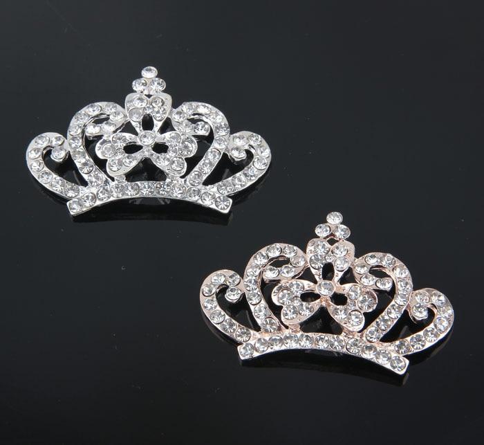 30 unids/lote 2 colores Bling aleación Rhinestone corona botón para diademas base plana de Metal boda Tiara cuentas para hallazgos de joyería