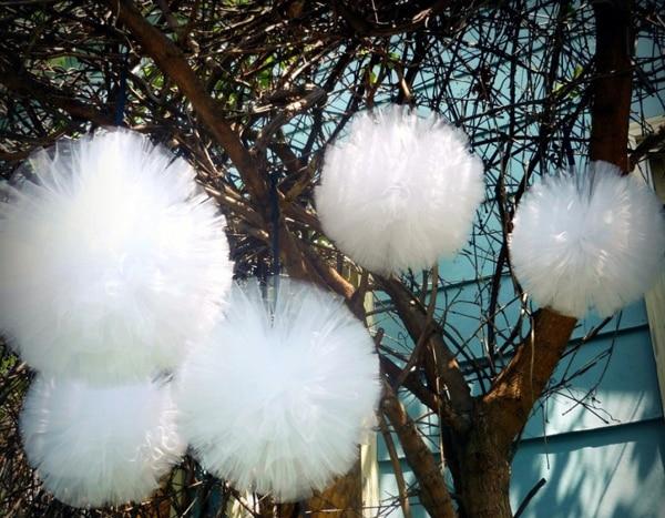Pompones de tul de color blanco y rosa de 20cm para decoración de fiestas y bodas, pompón de tul para baby shower