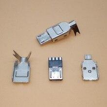 Type de soudage mâle Micro USB   10 jeux, 5 broches, connecteur de chargeur queue de chargeur USB 5P, pièces métalliques 4 en 1