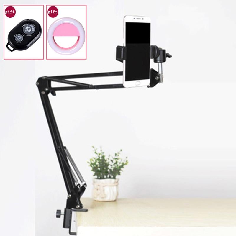 Tabla ajustable suspensión brazo soporte montaje abrazadera + Ballhead teléfono Clip Kits para foto Video cámara teléfono fotografía
