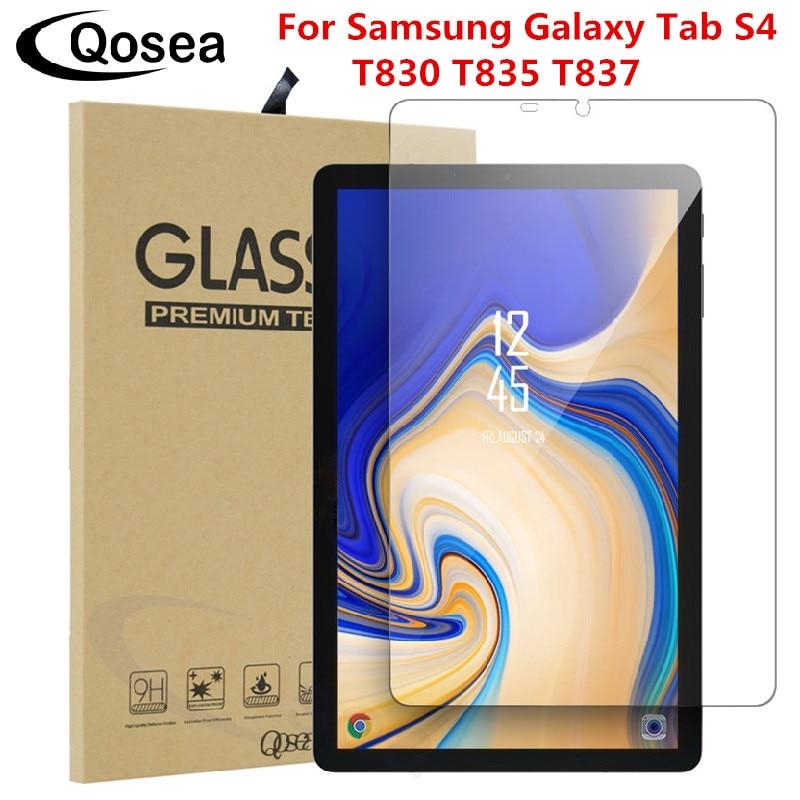 Qosea de vidrio templado para Samsung Galaxy Tab S4 10,5 T830 T835 T837 Protector de pantalla Ulite-Delgado claro Tab S4 10,5 película protectora