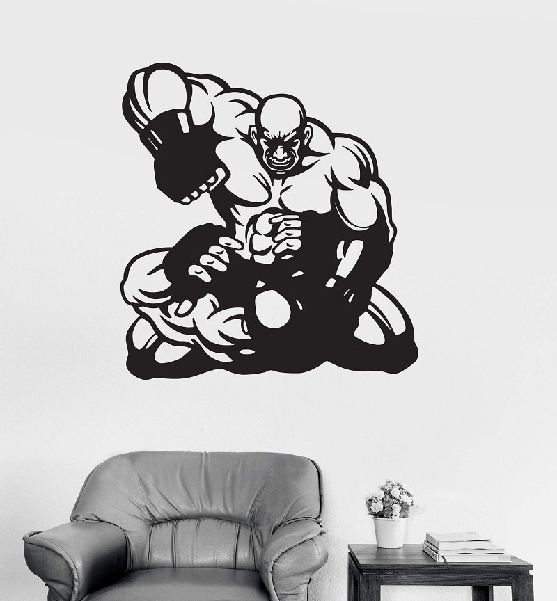 Decalque da parede do vinil guerreiro mma artes marciais esportes adesivos, anel de boxe, sala de estar boxe hall decoração adesivos de parede, qj07