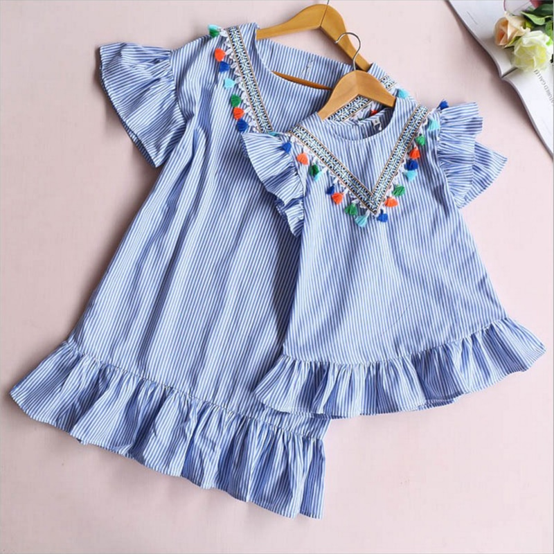 Family matching clothes Nine Quarter Stripe Tassel Mini Dress Mom and daughter dress Summer Outfits Mother and daughter clothes