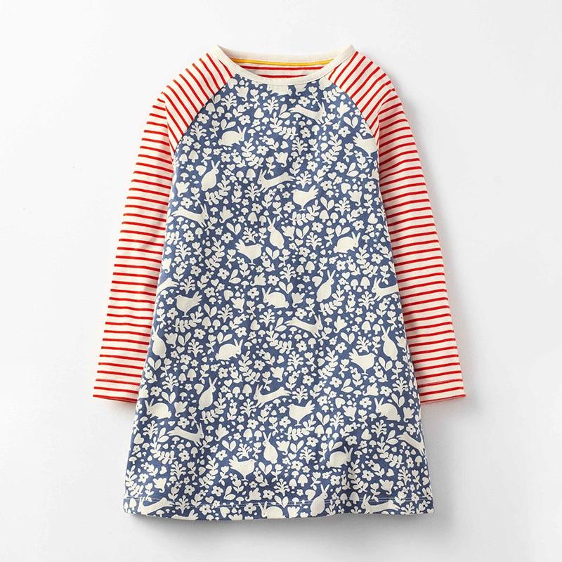 Little Maven primavera otoño nuevo de manga larga de conejo azul impreso rayas lunares o-cuello 1-6yrs de punto de algodón niñas vestidos casuales