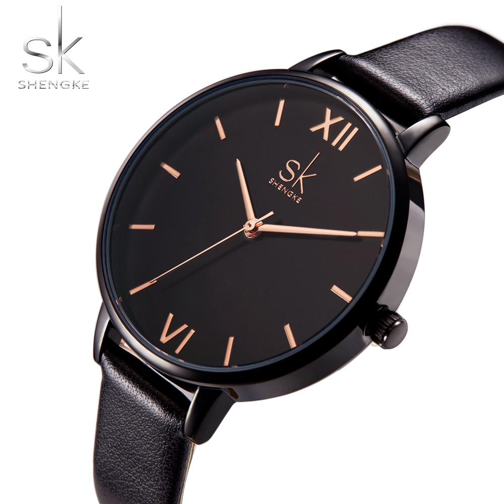 Shengke Women Watches Causal Leather Watch Black Strap Wristwatch Colors Relogio Feminino Mixmatch Ladies