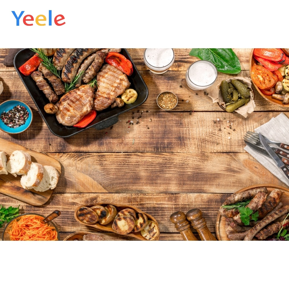 Yeele Holz Bord Leckeres Essen Steak Milch Brot Abendessen Küche Fotografie Hintergrund Fotografische Hintergründe für Foto Studio