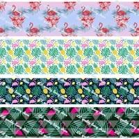 new design flamingo printed grosgrain ribbon fashion ribbon handmade crafts woven brand labels gift packaging 50 yards