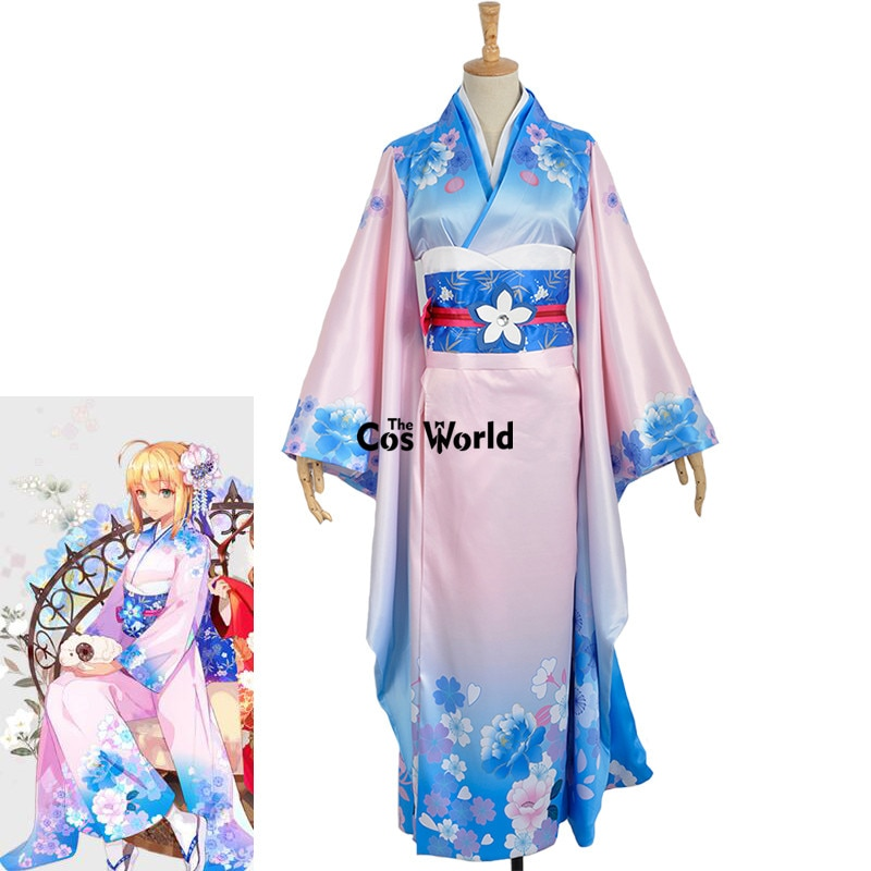 El destino cero noche estancia Saber Arturia Pendragon Kimono Yukata vestido uniforme traje Anime Cosplay disfraces