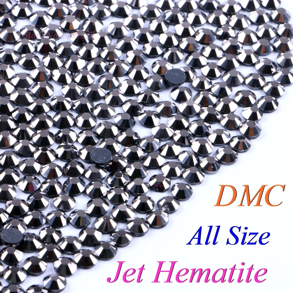 All Size! Jet Hematite, DMC Hotfix Rhinestone SS6 SS10 SS16 SS20 SS30 Glass Crystals Stones Hot Fix Iron-On FlatBack With Glue