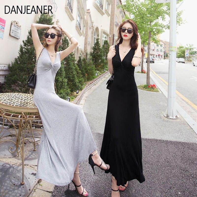 DANJEANER Sexy Deep V cuello largo algodón vestido de fiesta sin mangas verano Maxi vestido negro ceñido al cuerpo vestido de fiesta mujeres Slim vestidos