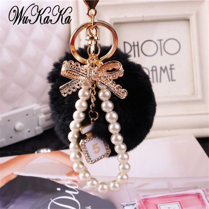 2019 модная жемчужная цепочка, Хрустальная бутылка, бант, помпон, брелок для автомобиля, женская сумка, брелок, кольцо, пушистый пышный шар, брелок ювелирный