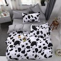 New bed linen Bedding Set black Cow Curve Duvet Cover Flat Sheet Pillowcase Quilt Cover Bed Set Full Queen King 4pcs bed set