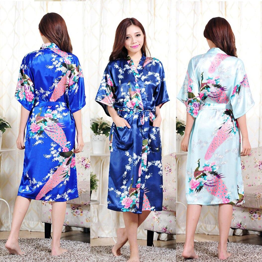 plus flower print see through longline kimono 2019 Plus Size S-6XL Women Long Robe Print Flower Peacock Kimono Bathrobe Gown Bride Bridesmaid Wedding Robes Sexy Clothes Dress