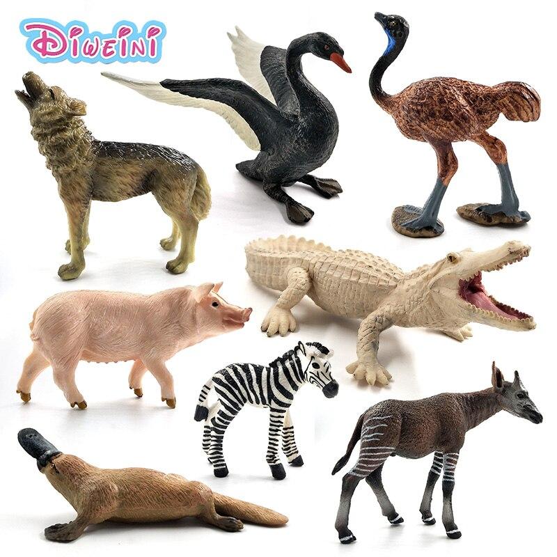 יען Meerkat אוקפי ברבור זאב תנין ברווזן צבי חזיר בעלי החיים דגם איור צלמית בית תפאורה קישוט אביזרי צעצועים