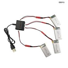4pcs* 3.7V 850mah Lipo Battery+1 to 4 Balance Charger+4pcs JST Cables for SYMA X56 X56W X54HW X54HC Foldable RC Quadcopter Drone