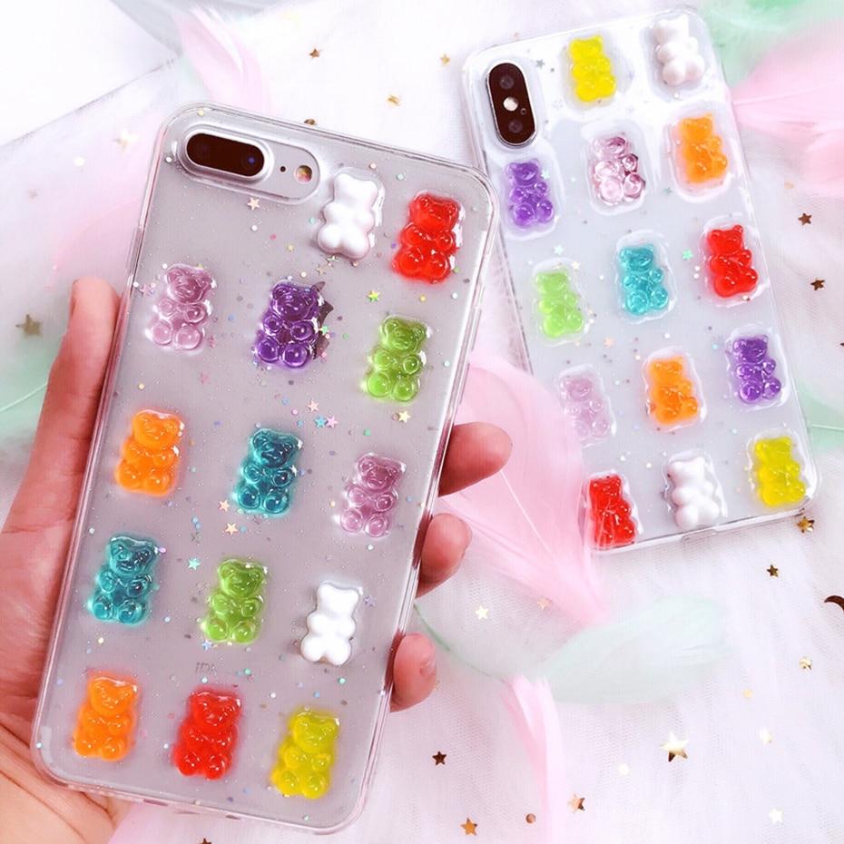 Qianliyao lindo 3D colores de caramelo oso teléfono funda para samsung Galaxy S20 S10 S10E S9 S8 Plus Nota 10 Pro Nota 9 8 suave cubierta trasera