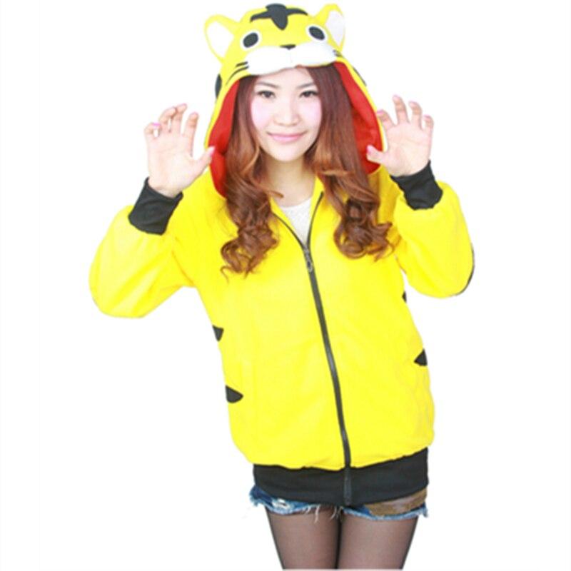 Мультяшные желтые толстовки с тигровым узором, с длинным рукавом и капюшоном на молнии, костюм тигра для косплея, мужские и женские толстовк...