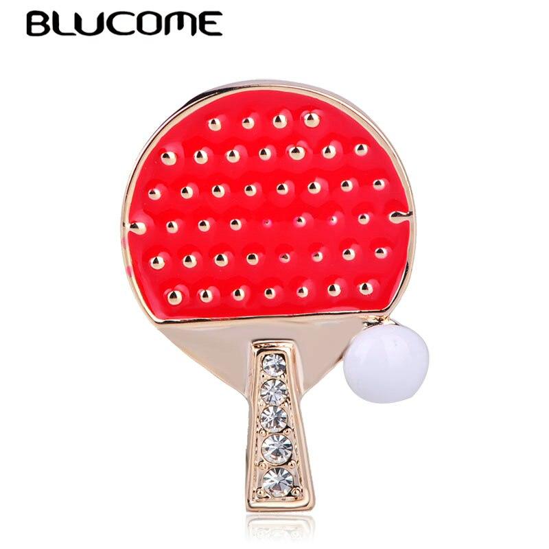 Broches con forma de pelota de tenis de mesa de Ping Pong de Blucome, broches con esmalte rojo, broche dorado, joyería para deportes, regalos para hombres y mujeres