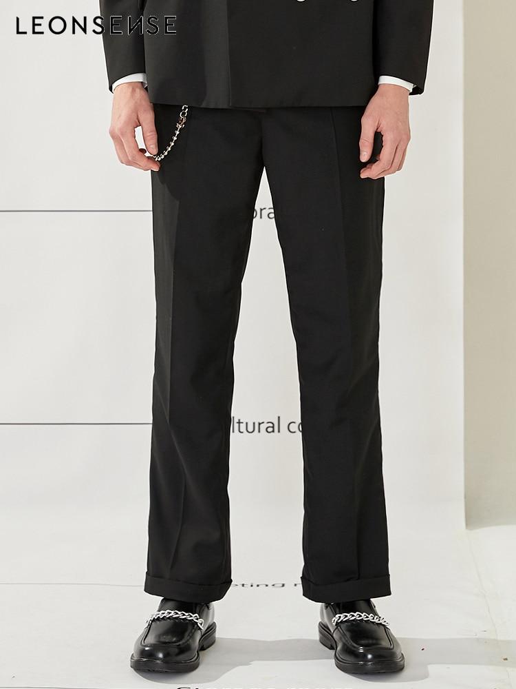 Leonsense 2018 nueva marca de hombre negro rollo falda traje Pantalones rectos boda hombres ocio trajes pantalones moda Pantalones británico conjunto