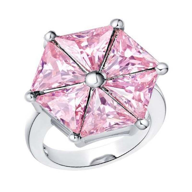925 Sterling Silver Geometic Shaped Cut naśladować niebieski kryształ cyrkonia obrączki romantyczna świąteczna o miłości prezent