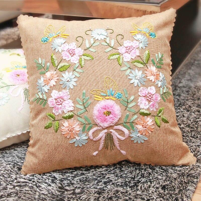 Funda de almohada de cáñamo con bordado de cinta fácil para principiantes, Kits de costura de punto de cruz, arte de coser serie de flores hecho a mano