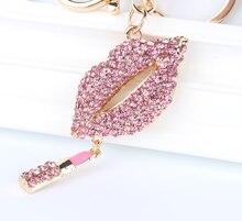 Rouge à lèvres rose pendentif charme strass cristal sac à main sac porte-clés porte-clés accessoires de fête de mariage amant cadeau