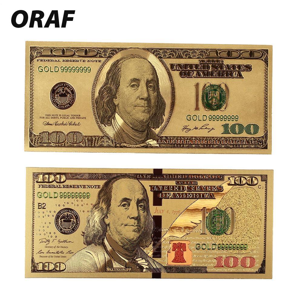 2PCS/Set Dropshipping New USD 100 Dollar Bill Gift 24K American Gold Foil Banknote Replica Fake Banknotes Album Money Home Decor