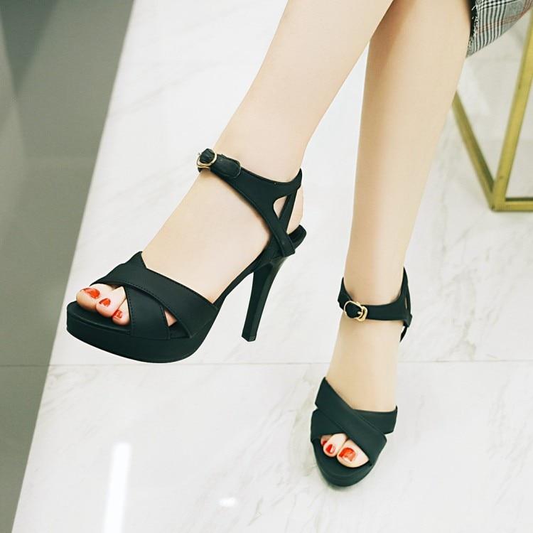 Sandalias de tacón alto de gran tamaño, zapatos de verano para mujer, zapatos de boca de pez con tacón alto, plataforma impermeable