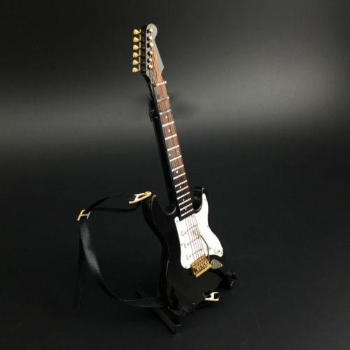 "Instrumento modelo de guitarra eléctrica folclórica negra a escala 1/6, Mini adornos musicales para colecciones de accesorios de figuras de acción de 12"""