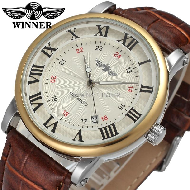 Winner 2021 Men's Watch Luxury Brand mechanical watches Leather Strap tourbillon Dress Fashion On Sale Wristwatch Clock Male