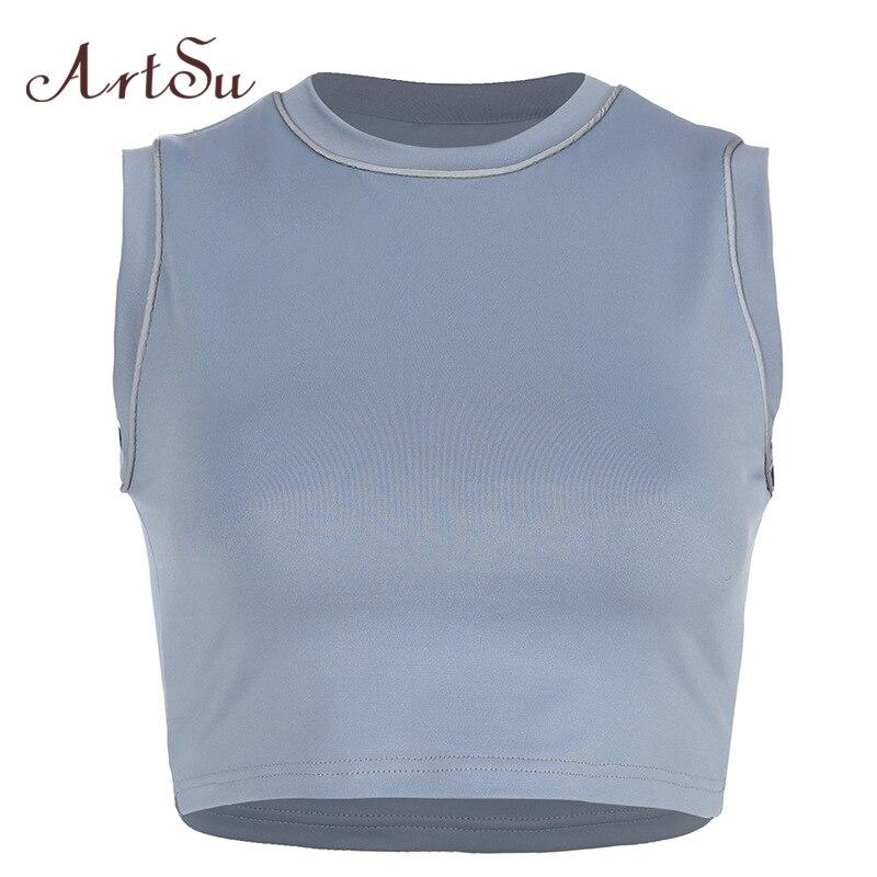 ArtSu camiseta sin mangas a rayas reflectante Tops sin mangas Fitness entrenamiento Bralette Top corto de calle chaleco señoras verano Tops ASVE20665